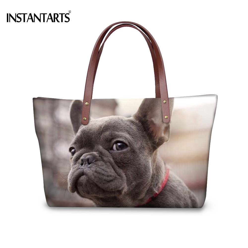 INSTANTARTS Cute 3D Dog French Bulldog Printing Women Large Tote Bags Fashion Travel Shopping Bags for Ladies Beach Shoudler Bag