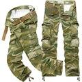 Com Cinto de 2017 Homens Casuais Calças Soltas de Multi Bolso Decoração Mid-Rise Comprimento Longo Carga Calças de Camuflagem Militar Homens
