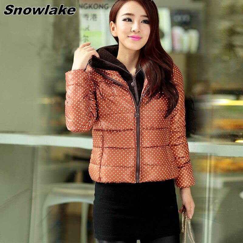 ФОТО Snowlake New Brand Women's clothing Fashion Full Sleeve Print Dot Loose Leisure Short Parkas Coat