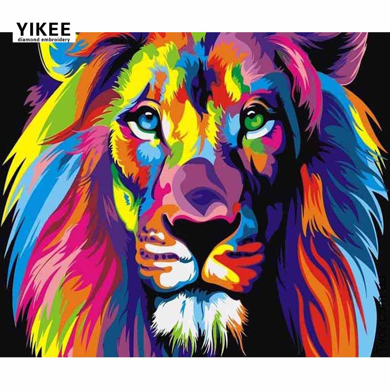 5D Full Drill Diamond Painting Animal Lion DIY Painting Cross Stitch Diamond Embroidery Full Square Rhinestone Painting Lion K19 ...