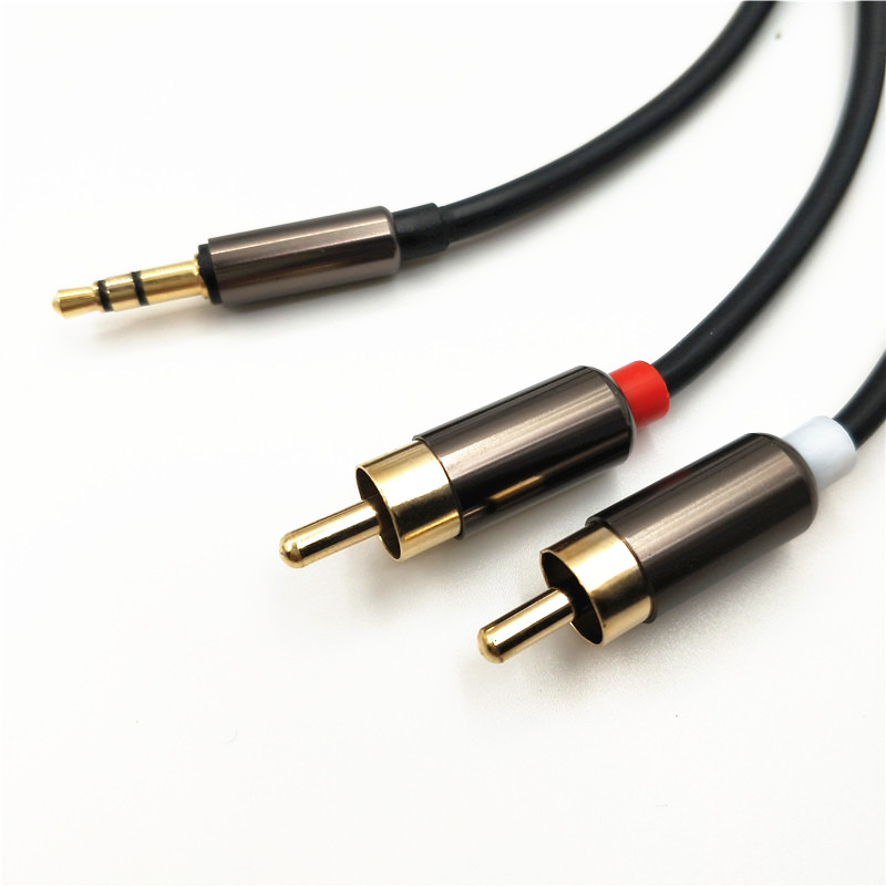 1m RCA Cable 2 RCA to 3.5 Audio Cable RCA 3.5 mm Jack RCA AUX Cable for DJ Amplifiers Subwoofer Audio Mixer Home Theater DVD