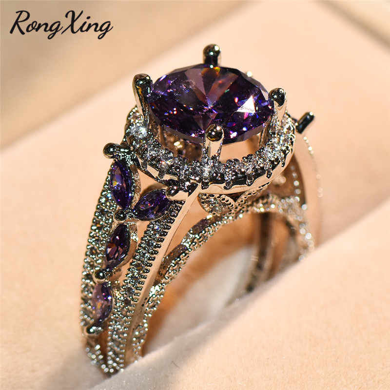RongXing Stylish Round Stone Feb Birthstone Purple Zircon Rings For Women Vintage Finger Ring Bridal Wedding Jewelry Lover Gifts