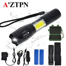 LED flashlight side COB lamp design T6/L2 8000 lumens Zoomable torch 4 light modes with 18650 battery + charger accessories tactical led flashlight with side cob work light design cree xml t6 l2 8000 lumen c8 flashlight torch lighting more than 300 m
