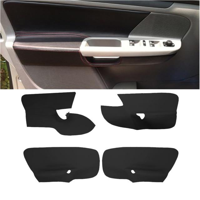 SRXTZM 4pcs/set Black Beige Car Interior Microfiber Leather Door Handle Armrest Panel Cover For Volkswagen Golf 5 2005-2010 4