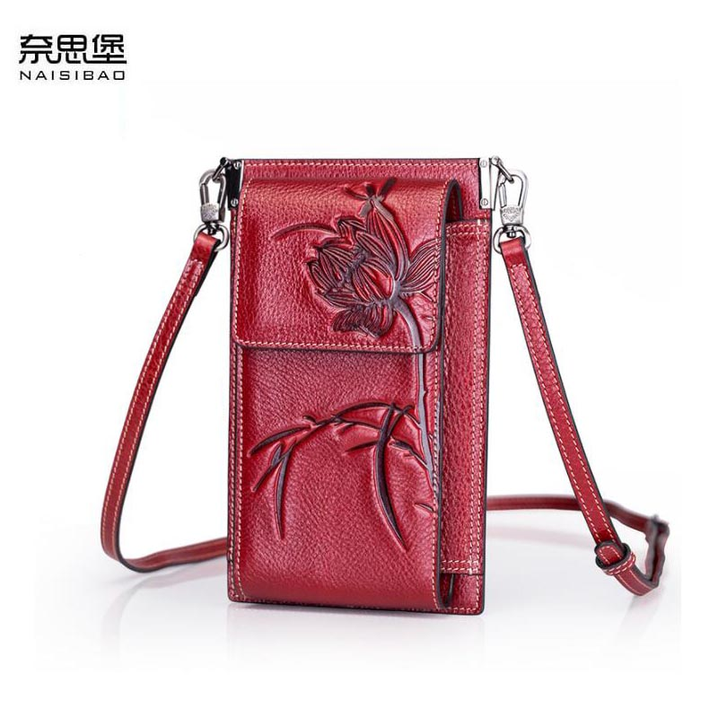 NAISIBAO 2019 New Genuine Leather handbags real Cowhide Embossing women leather bags Fashion  Luxury women shoulder phone bagNAISIBAO 2019 New Genuine Leather handbags real Cowhide Embossing women leather bags Fashion  Luxury women shoulder phone bag