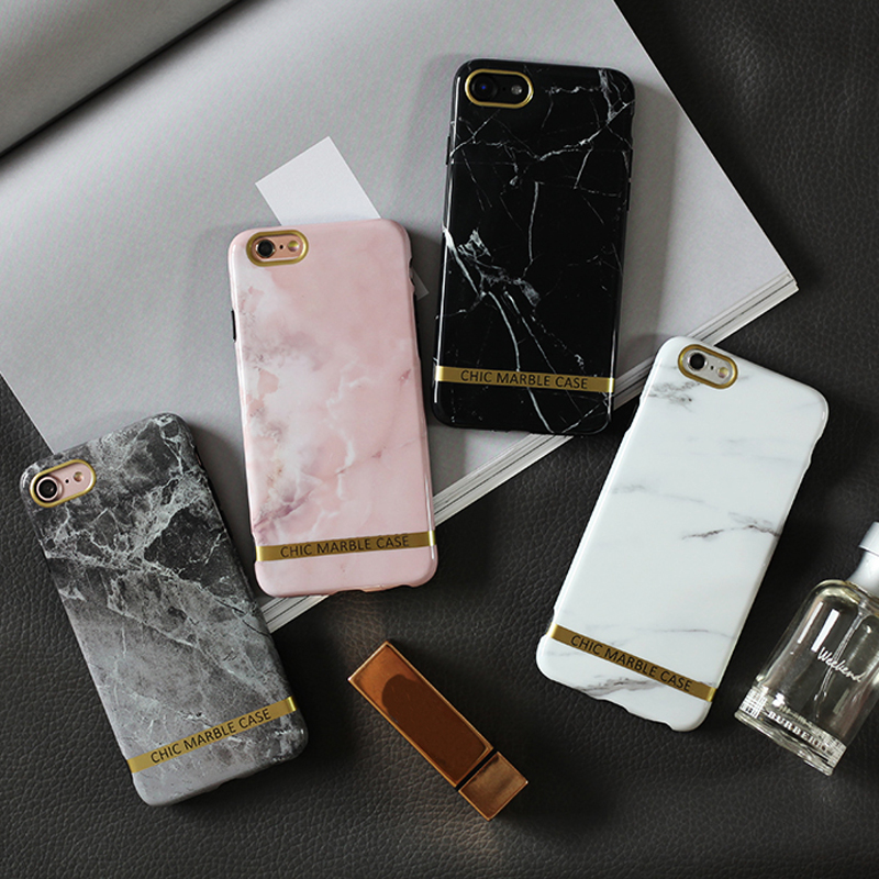JAMULAR Glossy Marble Phone Case For iphone 7 X 8 6s 6 Plus XS XR Chic