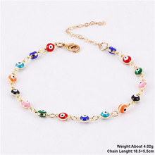 Fashion Colorful Turkish Eyes Anklets for Women Charm Gold Color Beads Pendant barefoot sandals Anklet Foot Jewelry Accessories