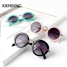 KRMDING New round cute kids sunglasses girl goggles protective glasses childrens Oculos Infantil accessories