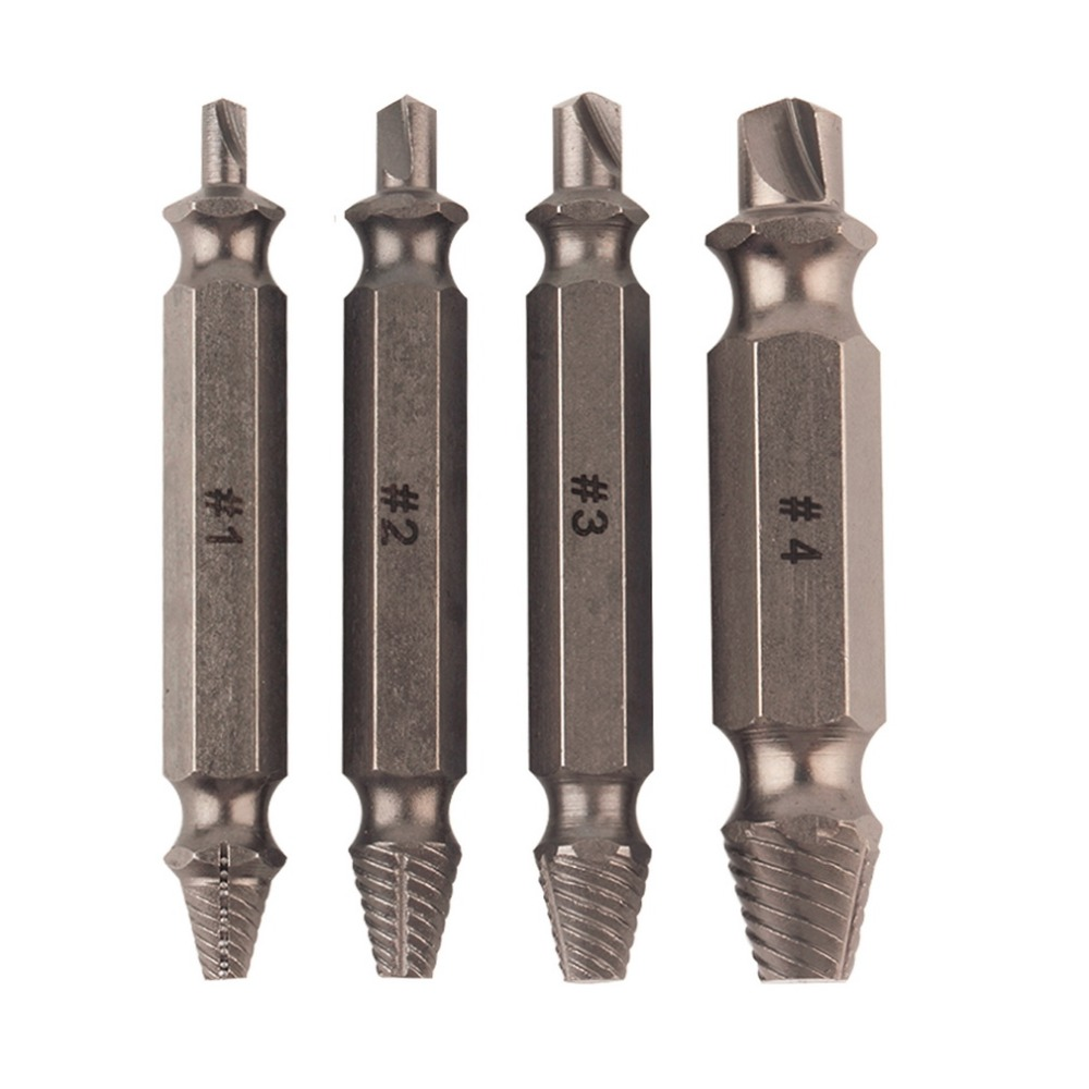 4pcs/set Screw Extractor Drill Bits Guide Set Removal Broken Damaged Screw Bolt Out Wood Bolt Stud Remover Tool Kit 1/2/ 3/ 4# плита gelberk gl 102