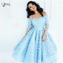 Pretty Sky Blue 3D Flower Tea Length Prom Dresses With Full Sleeves Off Shoulder Prom Gowns Tulle Party Dress Robe De Soiree sky blue stripe off the shoulder 3 4 length sleeves bodycon dress