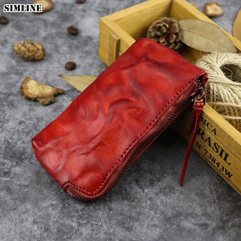 Mens Ladies Genuine Real Leather Square Coin TrayPurse PouchHigh Quality