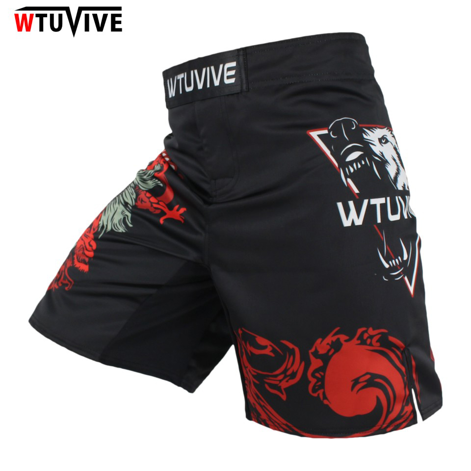 WTUVIVE MMA New Men's Boxing Domineering Wolf Head Boxing Boxing Boots Shorts Match Training Shorts Boxing Flat Pants