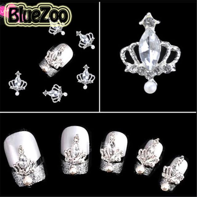 BlueZoo 100 unidades/pacote 3D Liga Faux Pérola Da Coroa Pedrinhas Art Nail DIY Decoração Glitters Fatias Beleza Dicas DIY Prego Parafuso Prisioneiro