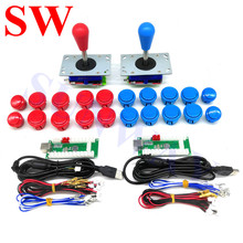 2Player DIY Arcade Kits with USB Encoder PC Zippy Joystick with Oval ball +Push Buttons +Wire Harness for Android/ Raspberry Pi