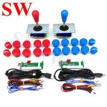 Kits de Arcade con codificador USB para Android/ Raspberry Pi, Joystick de PC Zippy con bola ovalada, botones de presión, arnés de cable
