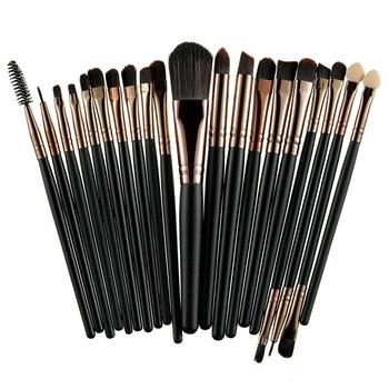 ROSALIND 20Pcs profesjonalne pędzle do makijażu zestaw Powder Foundation Eyeshadow makijaż pędzle kosmetyki miękkie syntetyczne włosy tanie i dobre opinie Pędzel do makijażu około 11 ~ 15cm 20Pcs zestaw Włosy syntetyczne włókno wełniane włosy wiewiórki końskie włosy