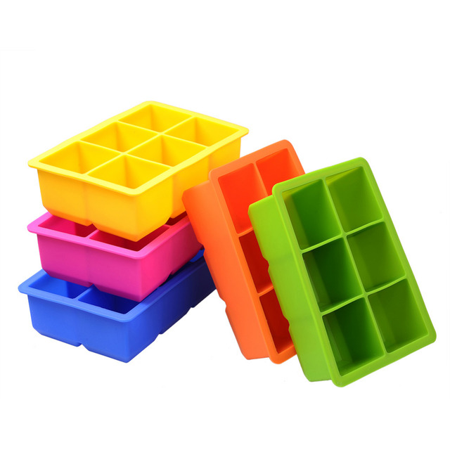 Silicone 6-Cavity Large Silicone Drink Ice Cube Pudding Jelly Soap Mold Mould Tray Tool (Random Color)