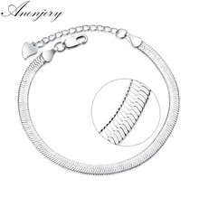 Anenjery 925 Sterling Silver Flat Snake Chain Blade Lobster Clasp Adjustable Bracelet Anklet For Women pulseira masculina S-B166(China)
