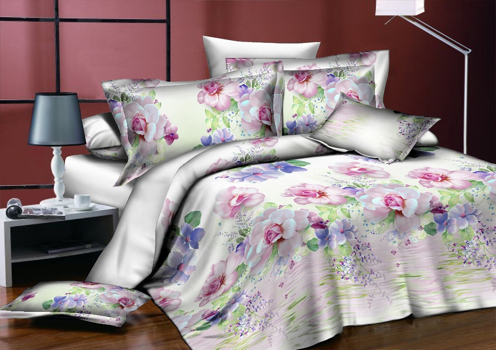 BEST. WENSD ensemble de literie classique roi reine pleine taille gris bleu fleur Rose linge de lit housse de couette ensemble AB housse de couette côté 2018 lit - 3