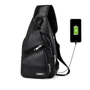 حقيبة صدر للرجال الرجال السفر جلدية فاخرة للماء الكتف في الهواء الطلق محفظة شحن الخصر حزم الأسود الأزياء البني Daypack حقيبة