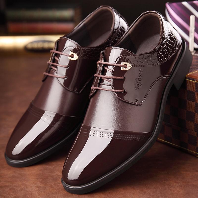 Toe Qualidade Rendas Trabalho Homens Dos Para Aa10044 Sapatos Alta Couro marrom Baixos De Oxford Preto Até Vestido Apontou Casamento OqwAWdvq