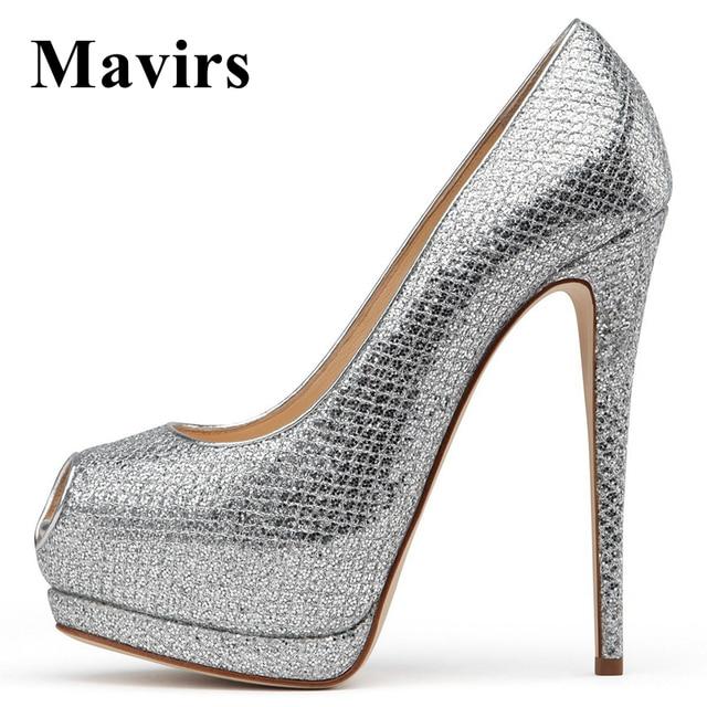 MAVIRS 2018 Fashion Peep Toe Platform High Heels Silver Women Pumps ...