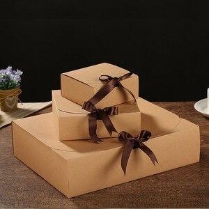 Image 4 - מרובה גודל שחור לבן קראפט נייר אריזת מתנה חבילה חתונה טובה סוכריות קופסות עם סרט