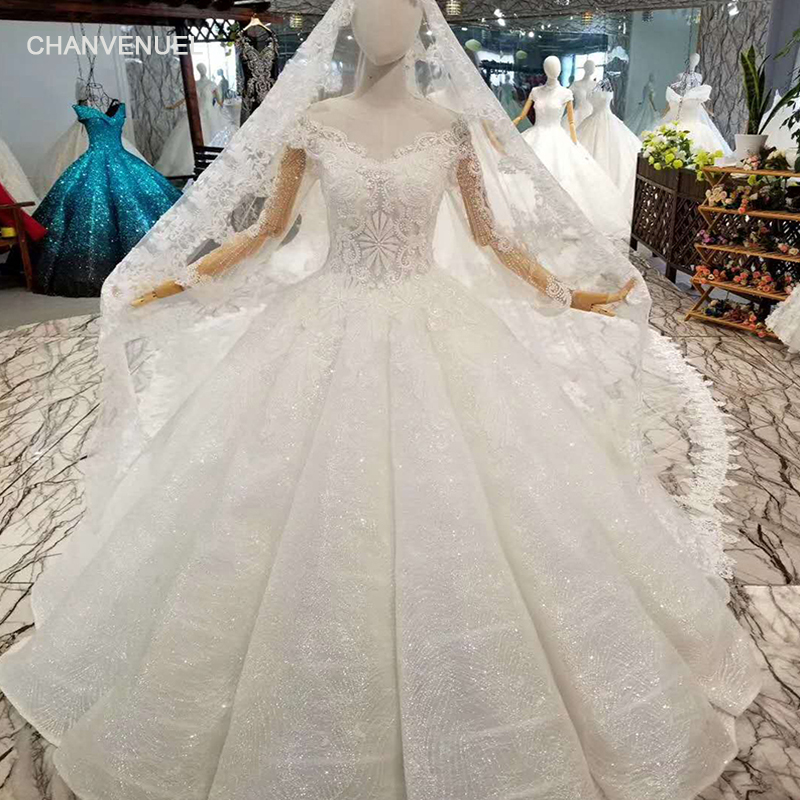 Wedding Gown Veil: LSS050 Ivory Long Tulle Veil Wedding Gown O Neck Long