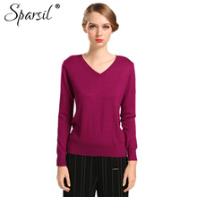 Sparsil Women Autumn Winter Cashmere Blend Sweater V-Neck Pullovers Long Sleeve Jumpers Womens Knitted Sweaters16 Colors S-XXL