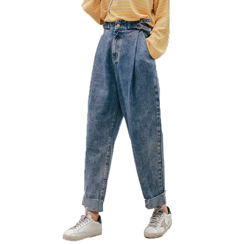 Pengpious autumn new denim pants soft cotton jeans for women loose size boy friend fashion jeans
