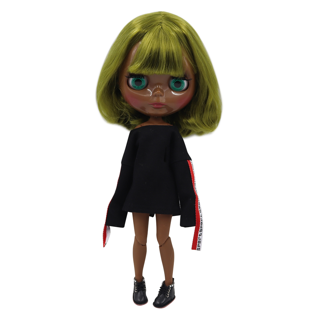 ICY fortune days factory blyth doll super black skin tone darkest skin short green hair joint