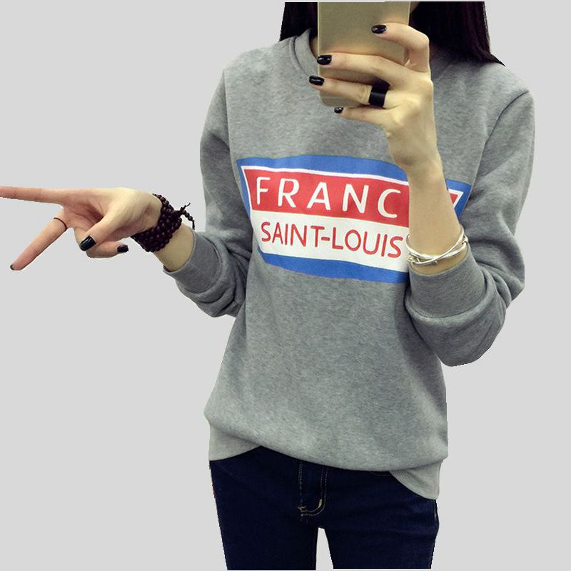 Korean style Autumn/Wnter Fashion Women Tees O-neck Pullover Warm Long sleeve T-shirt Pr ...