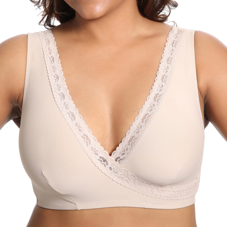 562c0056756 Women s Plus Size Soft Cup Comfort Wirefree Sleep Lace Bra-in Bras from  Underwear   Sleepwears on Aliexpress.com