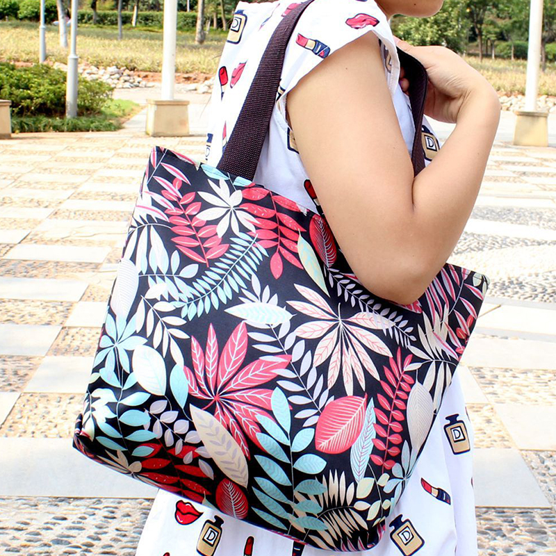 GABWE New Fashion Folding Women Big Handbag Tote Ladies Casual Flower Printing Canvas Graffiti Shoulder Bag Beach Bolsa Feminina in Top Handle Bags from Luggage Bags