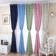 Hot silver stars environmental protection blackout curtain fabric Printing custom curtains for children living room D30