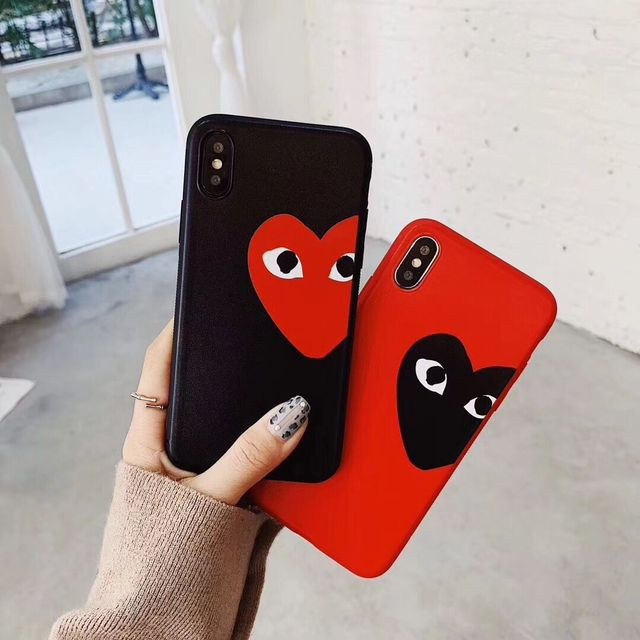 timeless design b6b58 a29c0 US $1.94 35% OFF|Comme des Garcons Case For iPhone X XS Max XR 8 7 6 6S  Plus CDG Play Love Heart Scrub thickened relief Soft silicone TPU Cover-in  ...