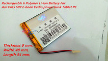 3.7V 3100mAh Rechargeable li Polymer Li-ion Battery For Aor W65 S09 E-book Vedio power bank Tablet PC mobile dvd Speaker 904954