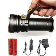 T6 Movable outdoor lighting rechargeable portable camping spotlight LED Flashlight include 2*18650 battery and charger