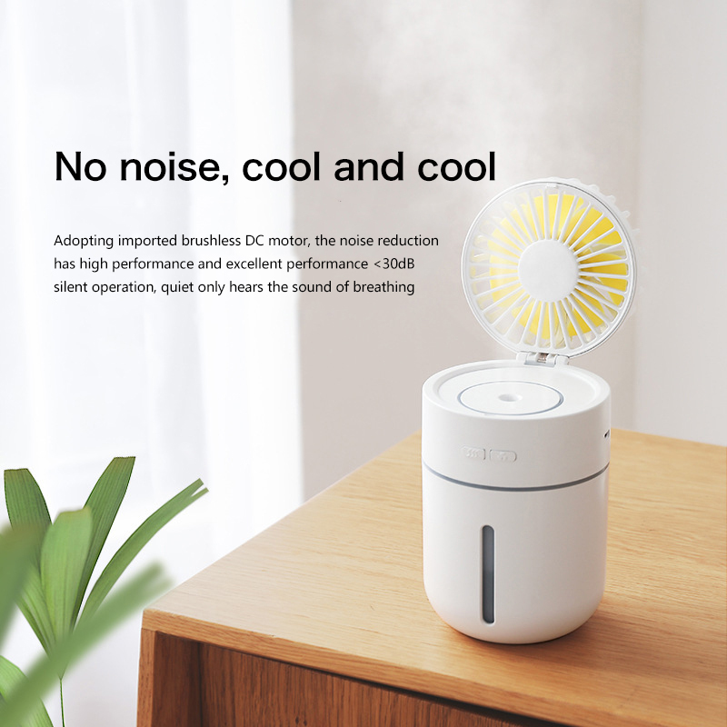 WXB New Spray Humidifier Fan 2 in 1 Handheld Portable USB Mini Fans Essential Oil Diffuser Mute Summer Air Conditioning Cool