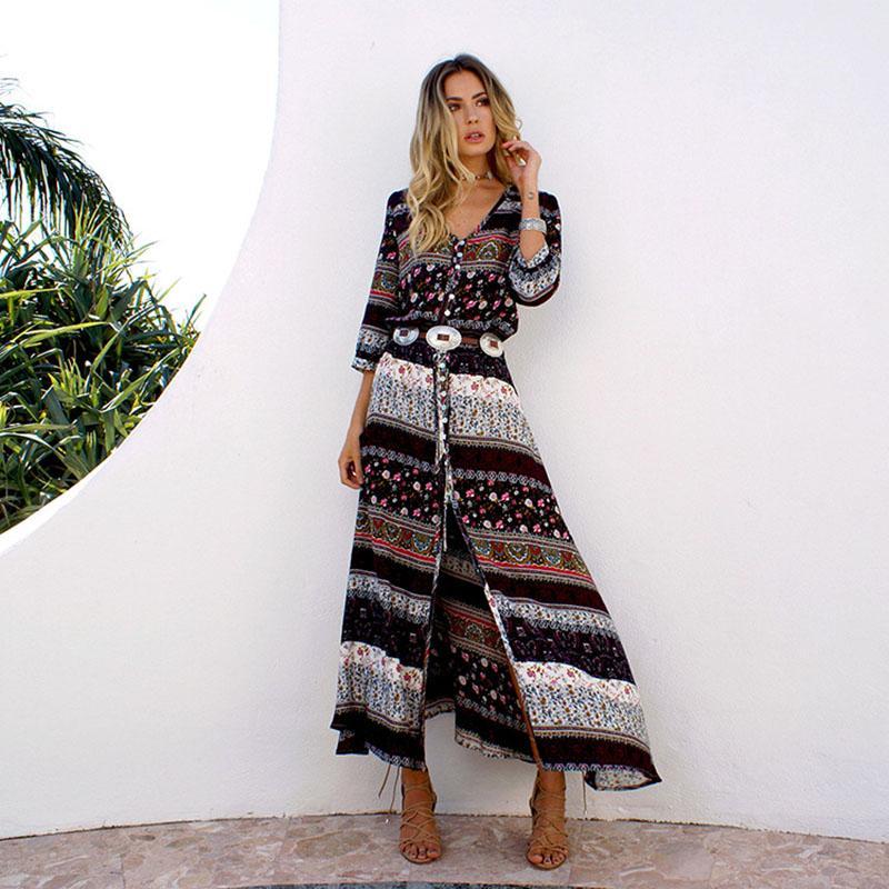 2018 Summer Floral Print Long Maxi Boho Beach Dress Vintage Casual Loose Bohemian Long Dess Women Summer Plus Size V Neck Dress