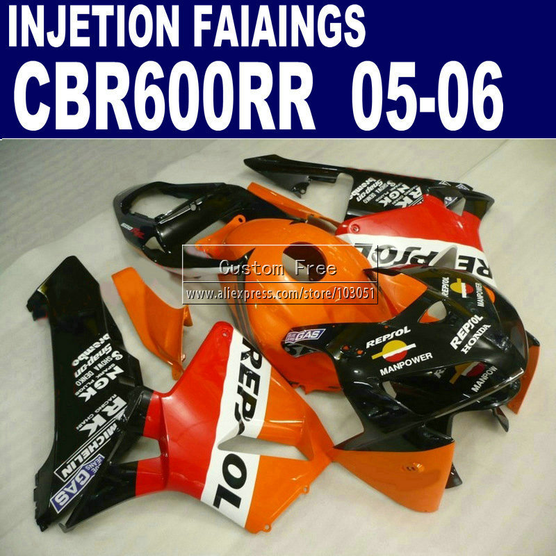 Injection molding kit for Honda orange repsol 2005 2006 CBR600RR fairing CBR 600RR CBR 600 RR 05 06 motorcycle fairings body par custom injection molding fairings for honda cbr 600 rr 2005 2006 cbr600rr 05 06 black flame in white motorcycle fairing kit