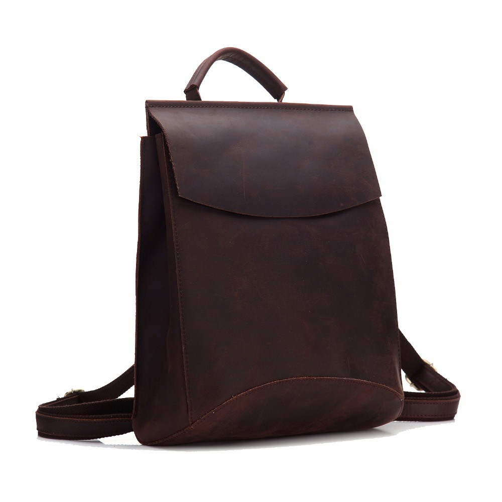 Crazy Horse Genuine Cowhide Leather Backpack Women