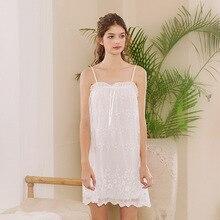 Roseheart Women Fashion White Cotton Sexy Sleepwear Spaghetti Strap Nightdress Lace Nightwear Sleepshirts Nightgown