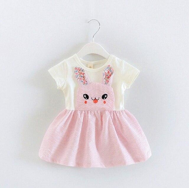 2016 summer newborn rabbit tutu dress children clothes print cartoon infant princess dress for girls cotton clothes baby dress