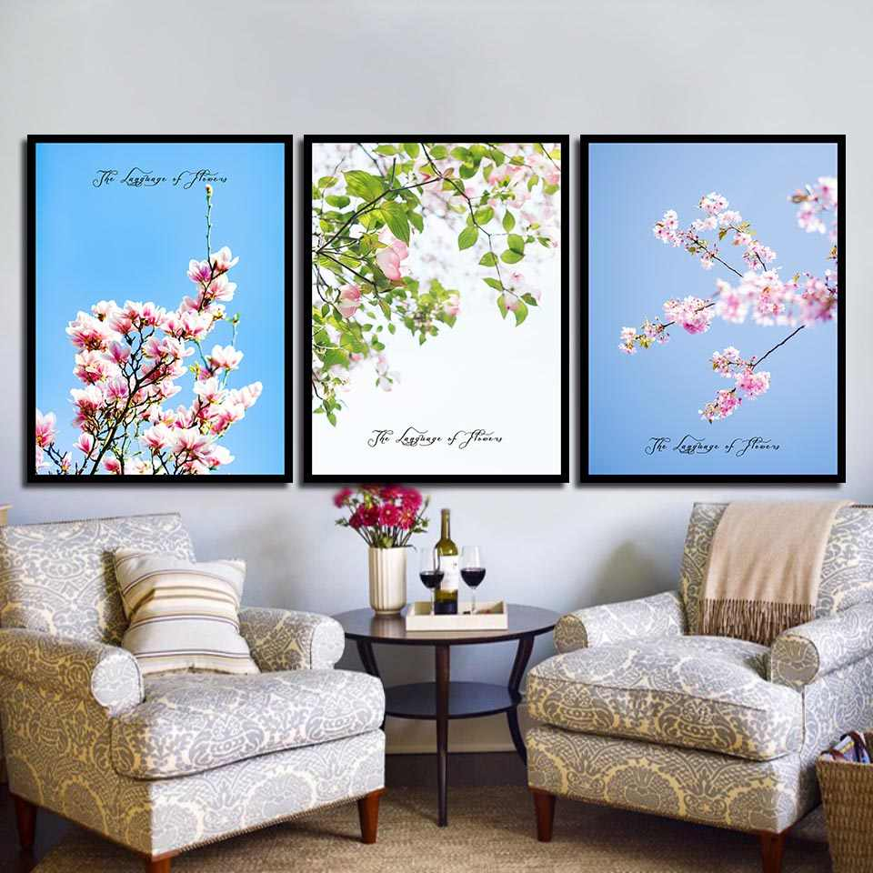 HD Photo Pop Picture Decor Wall Quote Abstract Beautiful Pink Cherry Blossom Simple Nordic Poster Prints Art Canvas Painting