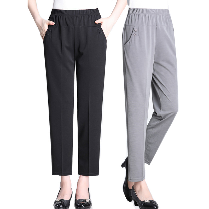 Fashion Elastic waist Loose Casual Women Trousers Summer Large size Grandma Nine pants Solid Middle-aged Thin Straight Pants 5XL