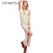 DOMODA Lace White Sexy Dress Women V-neck Cut Out Split Bodycon Long Dress Ladies 2017 Elegant Cute Party Evening Robe Female