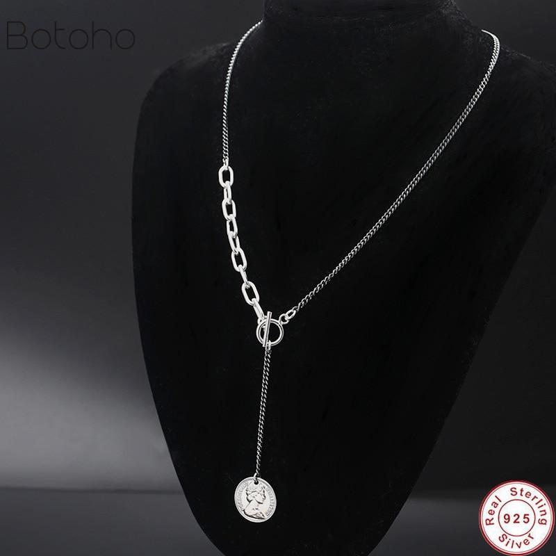 Nouvelle personnalité créative reine Avatar 925 bijoux en argent Sterling pièce de monnaie Dollor ronde belle pendentif femmes et hommes colliers