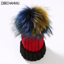 Fashion Real Fox Fur Mink Pompoms 15cm Skullies Beanies Hats For Girls Chlidrens Winter Warm Skullies Beanies Hats 2019 New kids winter hats 2017 new real fox fur pompoms knitted beanies hat for children boys girls solid color skullies