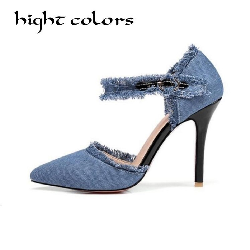 New 2019 Sexy Shoes Woman High Heel BLUE BLACK Pumps High Heels Women Shoes Luxury Ankle Strap Wedding Party Shoes dax0118